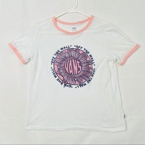 Vans Womens Ringer T-shirt Pink Sunflower M New